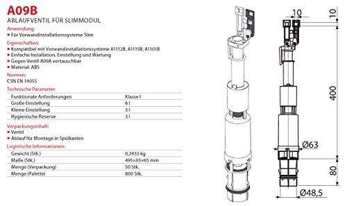 Spülgarnitur für UP Spülkasten Ablaufventil mit Spülung Heberglocke für WC Model Slim Unterputz