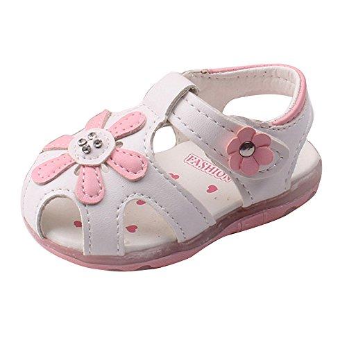 Culater® Tournesol Bambin Filles Sandales éclairé à Semelle Souple Princesse Chaussures (UK 5.5/3-4 ans, Rose vif) blanc