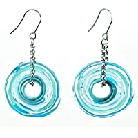 Genuine Murano glass earrings in turquoise - directly from the artist | Stainless steel chain and hanger | Unique glass jewellery personalised | Elegant and handcrafted | Charming Birthday Gift | Wonderful Mother's Day gift for your wife, mother, mom or om