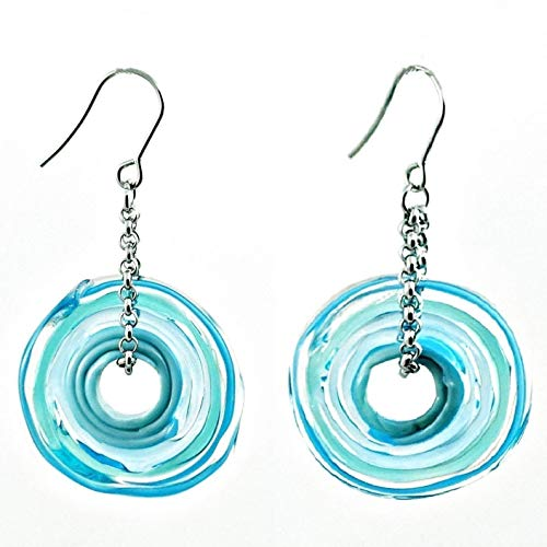 Ohrringe in Türkis aus Murano-Glas | Edelstahl | Glas-Schmuck | Unikat handmade | Personalisiertes Geschenk für sie zu Valentinstag Jahrestag Hochzeit Geburtstag Weihnachten Mama Dame | türkis