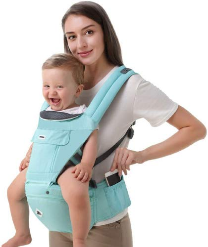 All Seasons 360 Ergonomic Baby Carrier 3 in 1 Backpack with Hip Seat-12 Position,Adapt to Growing Baby (Newborn, Infant & Toddler), Adjustable Baby Carrier Sling,Baby Diaper Bag with Large Capacity tqgold Ergonomic And Comfortable: Ergonomic Butterfly hip seat design to ensure baby's hips and legs are positioned correctly and comfortably, minimizes leg bending and prevents O-LEG Breathable And Soft: 100% cotton with high quality 3-D mesh keeps you and your baby cool. Removable shutter can keep warm in winter and cool in summer, suitable for all seasons use. Wide and sturdy lumbar belt ensures baby's weight is distributed evenly over the carrier's hip and shoulder areas for comfort 3 in 1 and All Carry Positions: The Waist Stool (bucket seat) could be detached from Upper Strap by unbuckling the connection buckles. Both Upper Strap and Waist Stool can be used separately. Front inward (fetal, infant, or toddler settings), front outward, hip or backpack carry options all in one. Face baby in or out. Wear on the hip or back as baby grows. 9