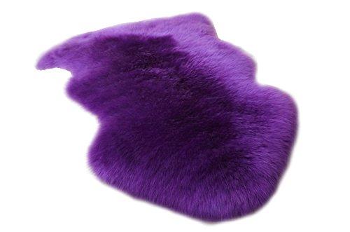 huahoo echtes Schaffell Teppich echtem Lammfell Decke natur Fell Pelz Teppich Pad Bereich Shag Teppich für Schlafzimmer Wohnzimmer, Wolle und Wollgemisch, violett, Single Pelt/2ft x 3ft (Teppich-pad Ziel)
