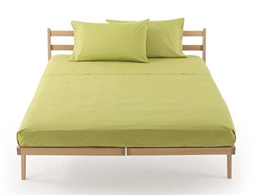 Lenzuolo sotto con angoli zucchi clic clac percalle di puro cotone letto una piazza e mezza cm 125 x 200 100% made in italy (verde mela - 3205)