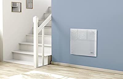 NETTA Electric Panel Heater, Slimline Glass Heater, Wall Mounted Electric Heater Or Free Standing, With Thermostat, Eco Friendly Mode.