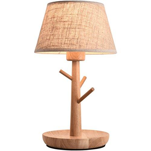 Nordic einfache Stump Form Holztischlampe, moderne Tuch Kunst Schlafzimmer Nacht Wohnzimmer Dekoration E27 Lampe, Online-Schalter, braun HUACANG