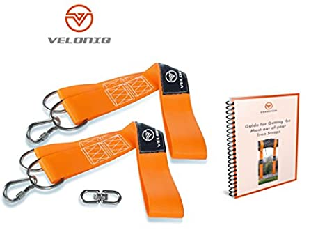 Veloniq® | Tree Swing Hanging Straps | 2 Straps | 2 Multi Sized D-Rings | 2 Safety Lock Carabiner Hooks | Each Strap Holds 500KG | Easy Install | Carry Pouch | FREE Stainless Steel Rotating Loop Hook for Tire Swing | FREE eBook Setup Guide