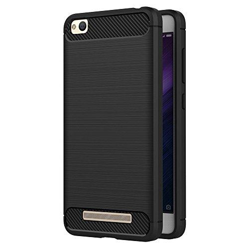 iVoler Funda para Xiaomi Redmi 4A, Diseño de Fibra de Carbon Ultra Fina TPU Silicona Carcasa Fundas Protectora con Shock- Absorción - Negro