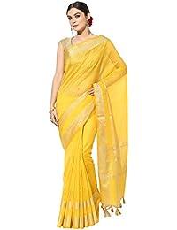 Banarasi Silk Works Cotton Saree With Blouse Piece (PTE25_Yellow_Free Size)