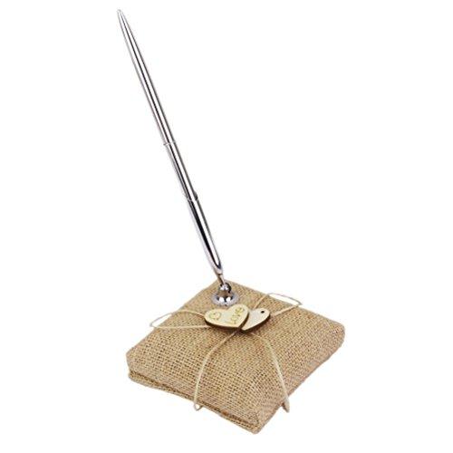 einen Holzherzen Hochzeit Stifthalter Set Register Supplies ()