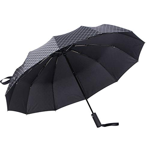 NJSDDB Regenschirm Männer Business Automatic Umbrella Weiblich Winddicht Edelstahl Regenschirme Regen Frauen 3 Taschenschirm Large Outdoorparaguas blac Plaids Regenschirm