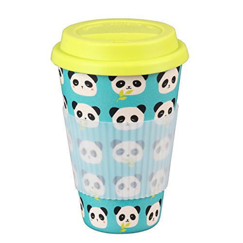 Cambridge CM04679 Panda Bamboo Eco Travel Mug, Yellow and Blue, 9 x 9 x 13 cm