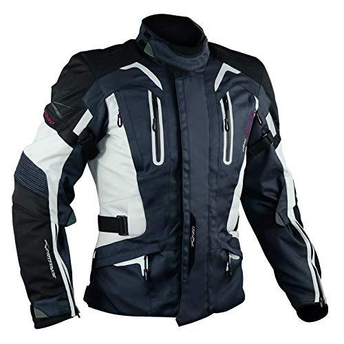 A-Pro, giacca da motociclista in tessuto, Protezioni, con Fodera Termica, Blu Scuro, XL