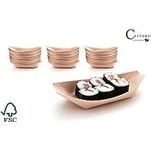 100 x Platos de madera | Vajillas desechables para comida de picar | bandejitas 100% biodegradables | Casparo Eco Design (L, 17cm)