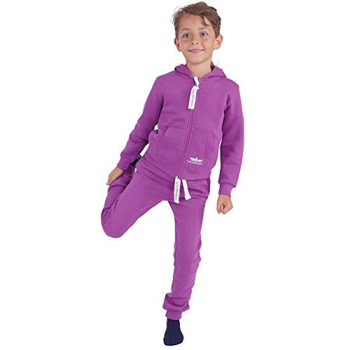 LIL'Finch 91Y2 Kinder Trainingsanzug Jungen Mädchen Kids Lila Gr. 122/128 (Mädchen Army Kostüm)