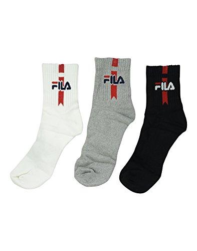 FILA UNISEX 3 PAIR SOCKS - ANKLE LENGTH BLACK WHITE GREY SOCKS  available at amazon for Rs.314
