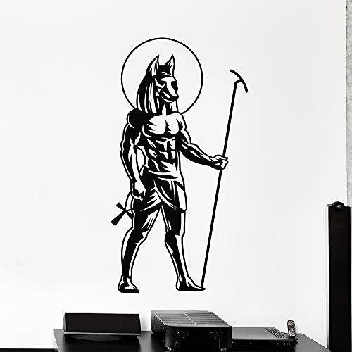 guijiumai Altägyptischen Gott Wandtattoo Für Schlafzimmer Selbstklebende Vinyl Anubis Statue Aufkleber Wandhauptdekoration Wohnzimmer grau 30x57 cm