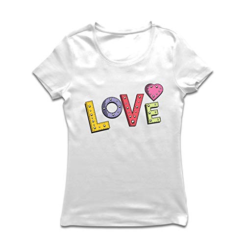 lepni.me Frauen T-Shirt Liebe, Valentinstag Herz, Retro-Zeichen (Large Weiß Mehrfarben) -