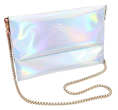 Remeehi da donna olografico Laser PU busta frizione borsa catena borsa a tracolla, Purple (viola) - YJJ0520-5 Silver