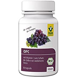Raab Bio OPC Traubenkern-Extrakt Kapseln, 80 Stück à 450 mg, laborgeprüft, vegan, mit Vitamin C zum Schutz der Zellen vor oxidativem Stress, 1er Pack (36 g)