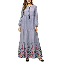 Zhhlaixing Mujeres Islámico Manga Larga Tartán Vestido de los Musulmanes - Casual Tallas Grandes Medio Oriente