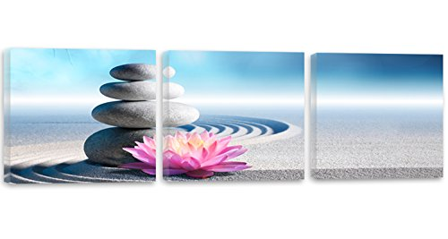 Feeby Frames, Quadro multipannello di 3 pannelli - Panoramico, Quadro su tela, Stampa artistica, Canvas 180x60 cm, PIETRE, FIORE, SABBIA, ZEN, VIOLA, BLU, GRIGIO