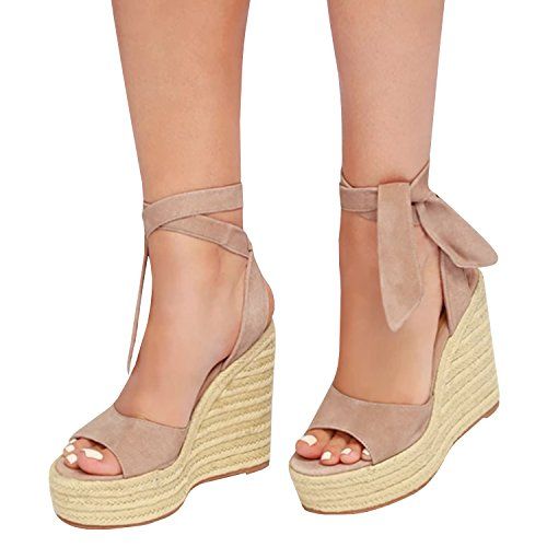068234a66c9 Outgobuy Women s Lace up Espadrille Wedge Platform Suede Peep Toe Strappy  Mid Heel Summer Dress Sandals