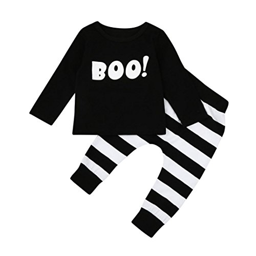 eufel Bluse Top + Stripe Hose Hirolan Halloween Outfits Set (80cm, Schwarz) ()