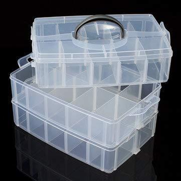CCChaRLes Transparente Kunststoff-Fach Aufbewahrungbox 3 Schicht Werkzeug Schmuck Handwerk Perlen Organizer Fall - L (6-fach-perlen-organizer)