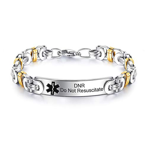 LF Personalised custom Edelstahl Medical Alert Awareness Vergoldet Byzantinisches Armband Frauen Männer Identifikation ID Armreif Notfall Leben außer für Papa,Sohn,Tochter,kostenlose Engrave -