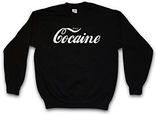 ENJOY COCAINE SWEATSHIRT PULLOVER - Fun Pablo Escobar Kokain Kult Drug Retro Mafia T-Shirt Größen S - 3XL (XL)