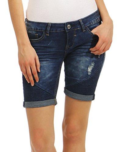 c3cd1cb9e8be7b Sublevel Damen Jogg Jeans Shorts LSL-321 Sweat Bermuda abgesteppte Parts  dark blue M