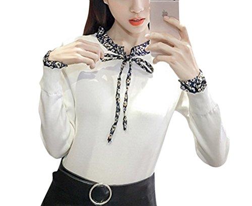 Brinny Femme nouvelle Chandail style coréen manches trompette et col montant-Taille unique Blanc