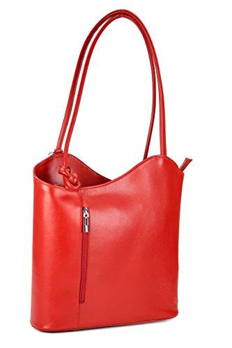 Belli ital. Leder Handtasche Backpack Damen Rucksack aus feinstem Leder in rot - 28x28x8 cm (B x H x T)
