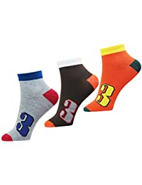 NeskaModa Men's Ankle Socks (Pack of 3) (S387-Men'sAnkleSocks_Orange,Blue,Black_Free Size)