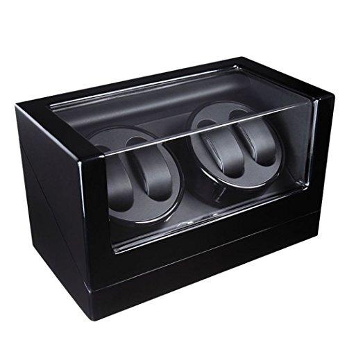 GY&H Watch Winder Automatic Uhren 4-Bit-Klavierlack Uhrenbox Motor Box ultra-leise automatische Rotation auf der Kette Oszillator,black