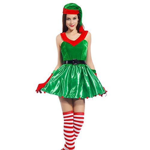 Sexy Weihnachtsmann Kostuem Kleiner Helfer Elfe Weihnachten Santa Weihnachtsfrau Damen Outfit