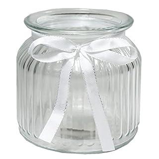 Annastore 12 x Windlichter Juna H 10,2 cm + gratis Dekoband in weiß