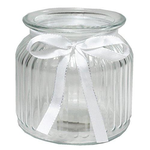 Annastore 12 x Windlichter Vintage aus Glas H 10,2 cm + weißes Dekoband - Glaswindlichter für große Teelichte