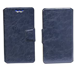 J Cover Bonded Series Leather Pouch Flip Case With Silicon Holder For BLU Studio Energy Dark Blue