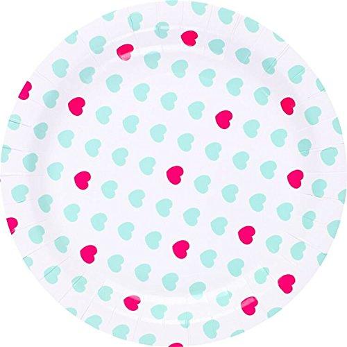 We Love Sundays Aqua & Pink Sweetheart Pappteller ER | 10| Ideal für Valentine Mottoparty