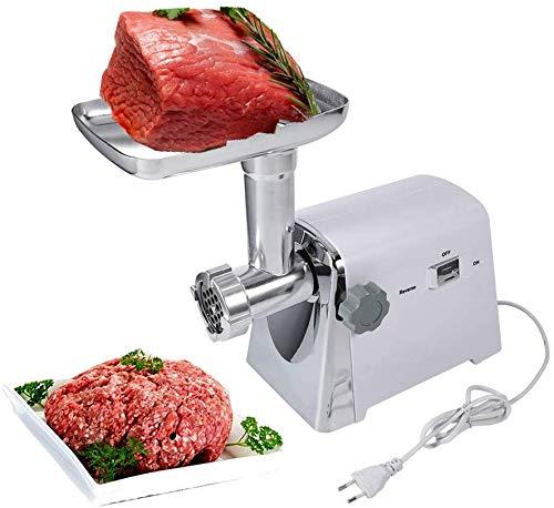 Picadora eléctrica de carne, 1600 W, acero inoxidable, máquina para salchichas y verduras.