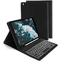 Jelly Comb Beleuchtete Tastatur Hülle für Neues iPad 2019 10,2 Zoll(7. Gen), iPad Air 2019(3. Gen), iPad Pro 10,5 2017, Bluetooth Abnehmbare QWERTZ Tastatur mit Schützhülle/Pencil Halter, Schwarz