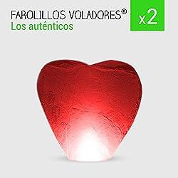 Pack 2 Farolillos de Corazón rojos. Más colores.