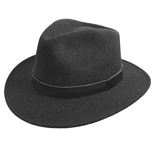 Classic Italy - Chapeau Fedora Pliable imperméable Feutre - 5 Coloris - Homme Classic Traveller III - Taille 54 cm - Anthracite