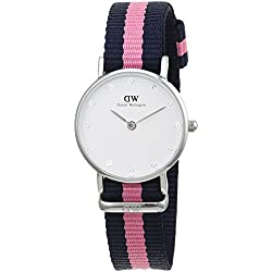 Daniel Wellington Women's Quartz Watch with White Dial Analogue Display and Multicolour Nylon Strap 0926DW