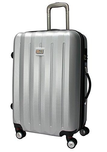 QTC DENVER 2 Hartschalen Reisekoffer L / 67cm / Handgepäck Reisetasche Reise Koffer (Silber)