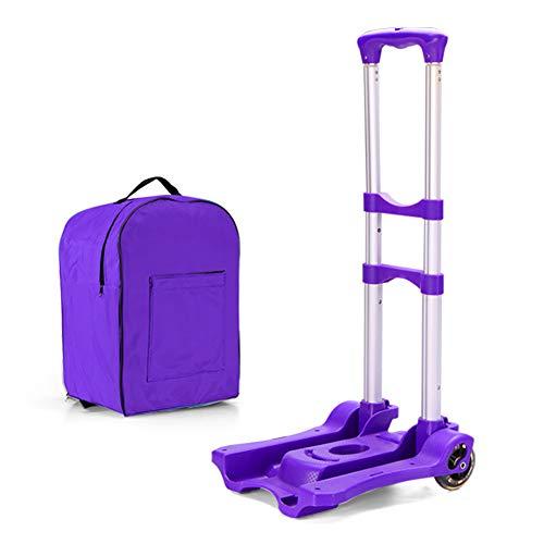 Einkaufstrolleys Faltbare Trolley Teleskop Zugstange Aluminiumlegierung Multifunktions Das Einkaufen Lebensmittelgeschäft Lagerung Gepäckwagen (Farbe : Purple)