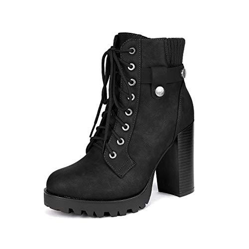 Dream Pairs SCANDL Mujer Botines de Tacón Alto Plataforma Invierno Moda Zapatos con Cordones Cremallera...