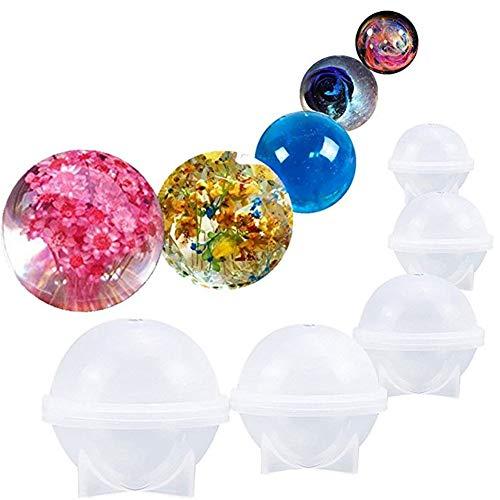 Muffa diy della sfera rotonda del silicone per i monili di resina epossidica fare della candela di cera fatta in casa sapone fai da te in plastica bath bomb mold 5 stampi diversi formato della sfera di ghiaccio