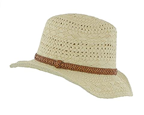 Ladies Fashion Straw Summer Hat with faux leather band (MS16N) Cowgirl / Western / Panama / Fedora)